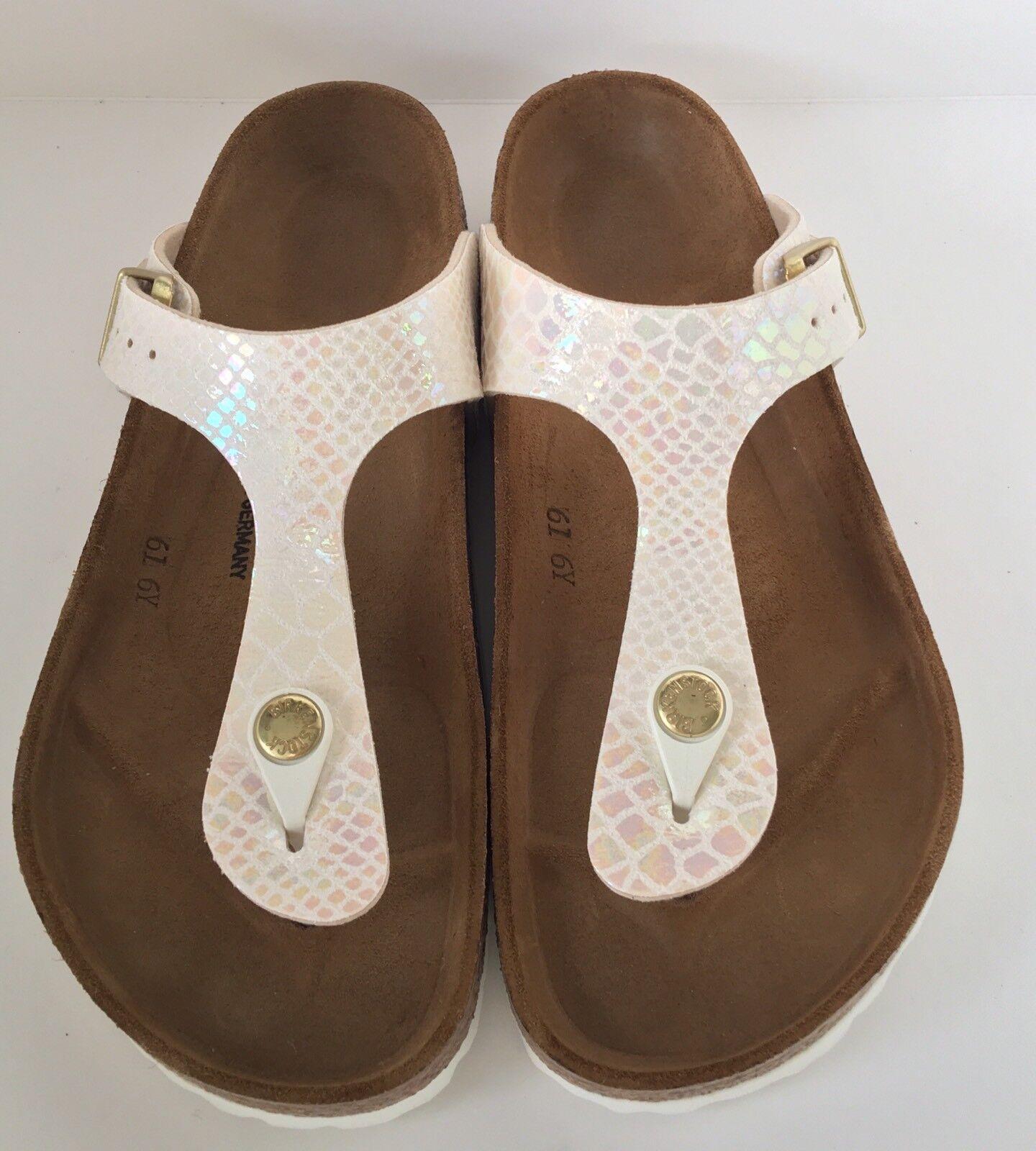Birkenstock Gizeh 847431 Größe 38 L7 R Shiny Snake Cream Birko-Flor Thong Sandale