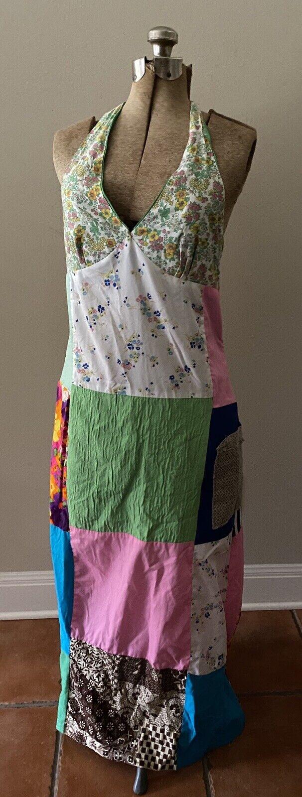 Vintage Handmade 60s Floral Patchwork Quilt Dress… - image 7