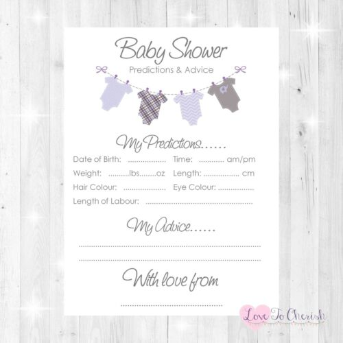 Vests Clothes Line BOY GIRL UNISEX BABY SHOWER GAME Predictions /& Advice Cards