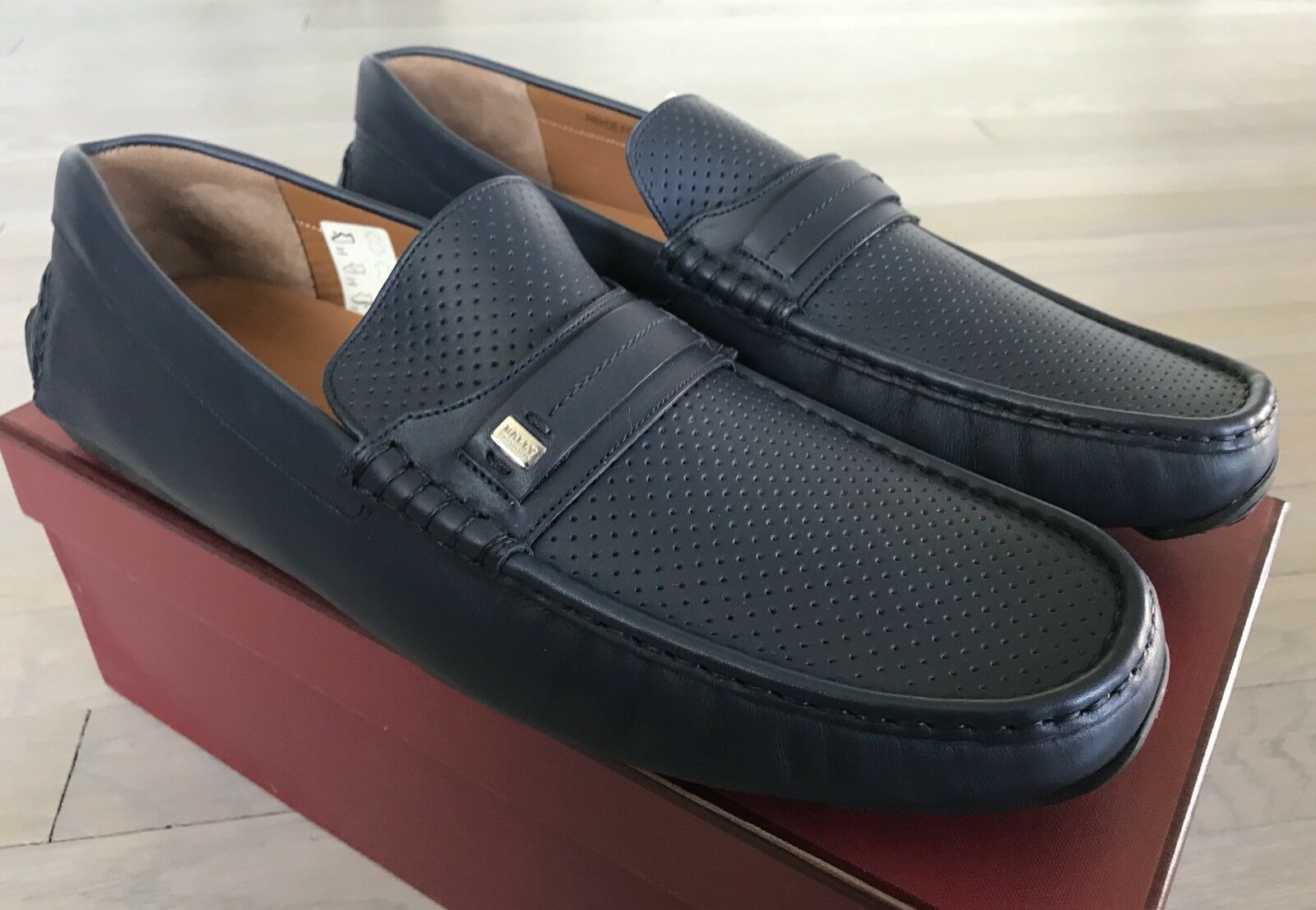 600 Bally Pryce Navy Perforated Leather Driver Size US 14 Made in Italy