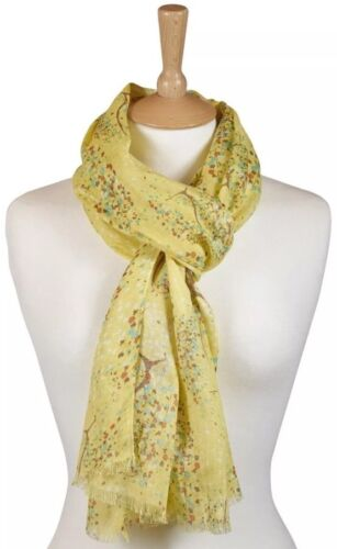 Quintessential ladies large yellow Willow Scarf in feather soft viscose 50x180cm