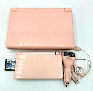 Nintendo DSLite USG-001 Handheld Console Pink Game Charger Hard Travel case*Read