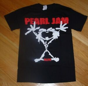 Details about PEARL JAM Black Shirt ALIVE STICKMAN ten era many sizes