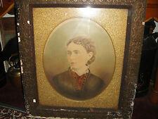Antique Photograph Painting Of Woman Portrait-Antique Frame-Very Large-LQQK