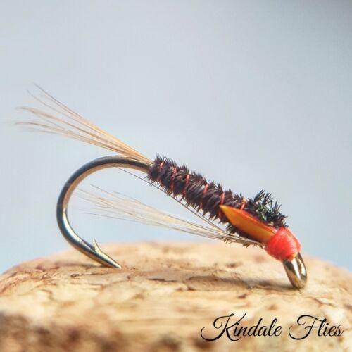 Pêche à la mouche Ensemble de 3 Red Head Bordeaux Diawl Bach Taille 10