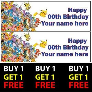 BB106 6xThick Birthday Party BANNERS Personalised Childrens POKEMON Decorations