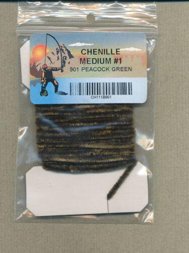 Chenille medium size 1 3 yd card peacock green