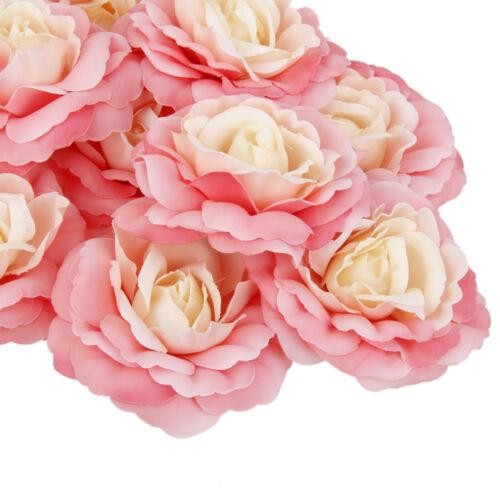 10 xSilk Camellia Artificial Flower Heads Wedding Bride Hair Clip Decor Pink