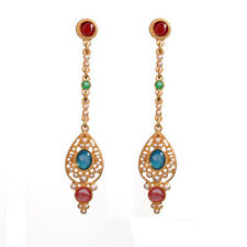 Boucles d`Oreilles Clous Doré Mini Perle Long Filigrane Baroque Rouge Bleu AA16