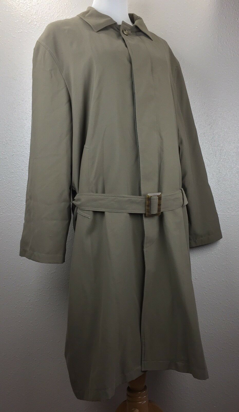 Stafford Men's Trench Coat Belted Hidden Button Size 42 Short