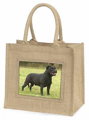 schwarz Staffordshire Bull Terrier große natürliche jute-einkaufstasche Chr ,