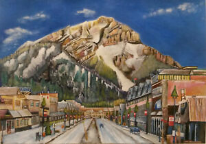 Banff-Canvas-Print-of-Acrylic-Landscape-Painting-30x20cm-on-box-canvas-signed