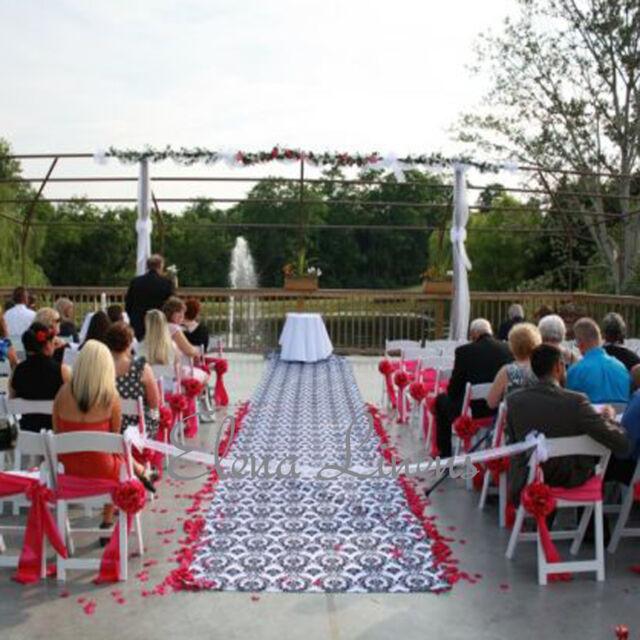 "75 ft Damask fabric Aisle Runner 57/"" Wide Flocking Flocked Black White Wedding"