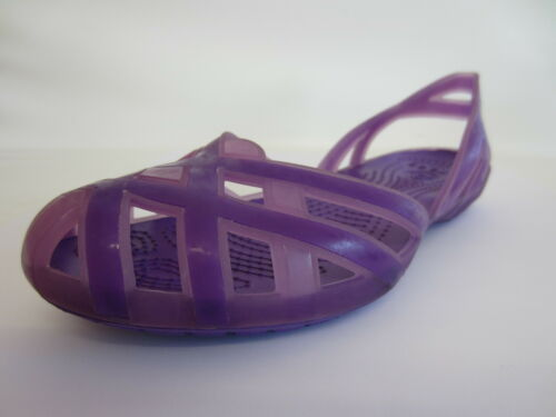 41B Crocs Huarache Girls Slingback Flat Iris//Neon Sandals Purple