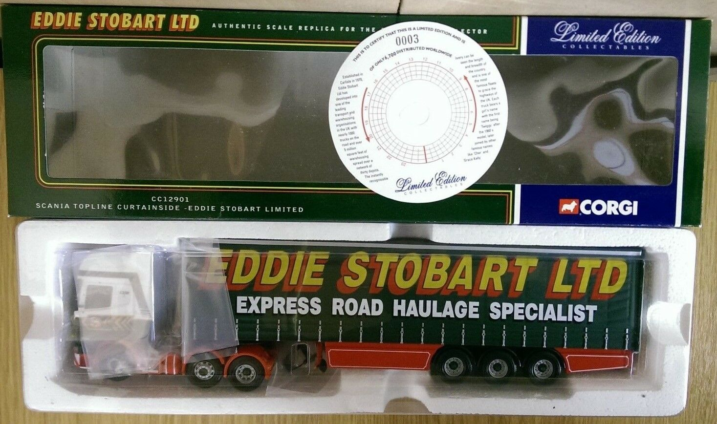 Corgi CC12901 Scania Topline Curtainside Eddie Stobart Ltd Ed No. 0003 of 6700