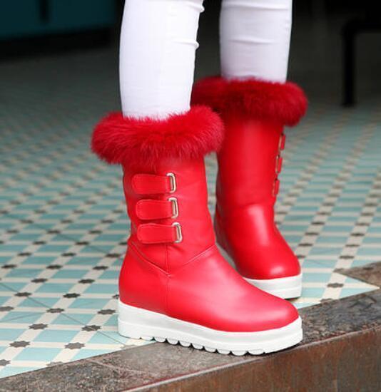 Womens European Winter Mid Calf Boos Sz35-43 Pu leather Combat Wedge Heel shoes