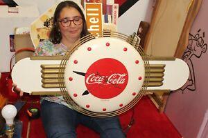 "Rare Vintage c.1950 Coca Cola Soda Pop 36"" Kay Displays Metal Clock Sign WORKS"