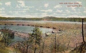 Postcard WI Eau Claire Log Jam on Dells Pond Logging