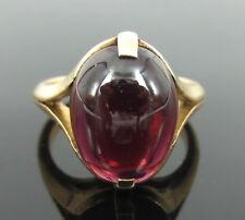 Antique Art Nouveau 5.0ct Cabochon Cut Natural Red Garnet & 18K Gold Ring