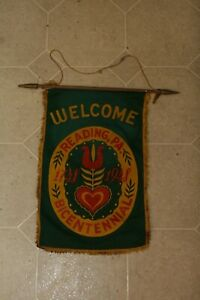Details about Vintage Lancaster County Banner Flag WELCOME READING PA  BICENTENNIAL 1948