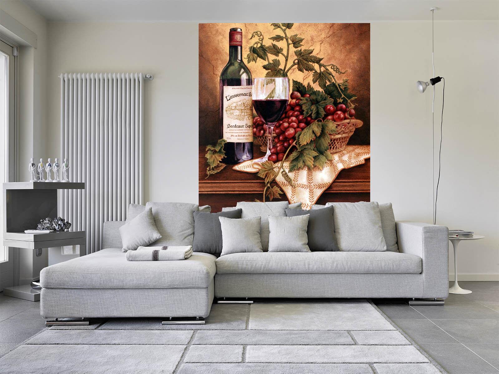 3D Grape Wine Cup 78 Wall Paper Murals Wall Print Wall Wallpaper Mural AU Kyra