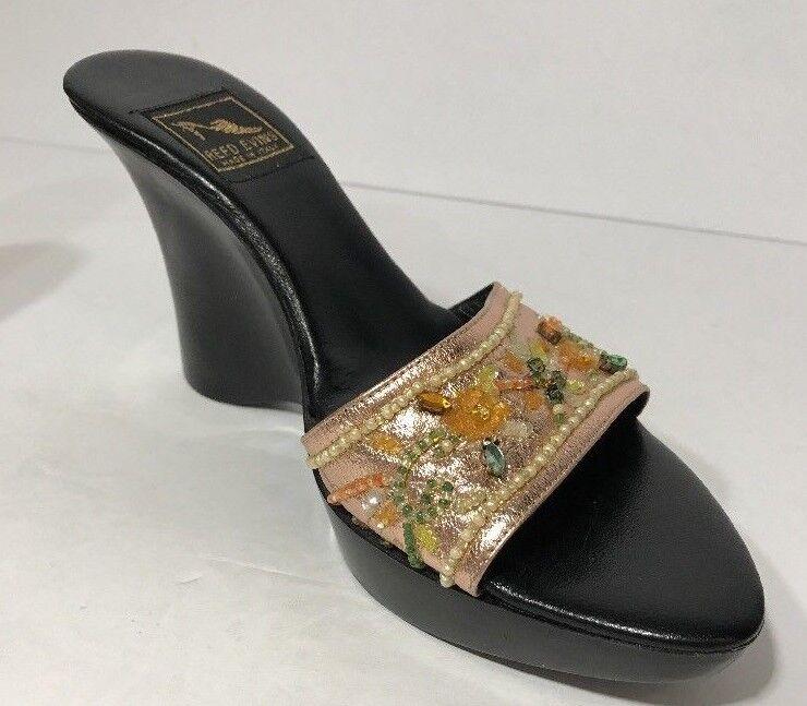 Reed Evins Damenschuhe Schuhes Made  Größe 7 Wedge Jeweled Pink Slip On