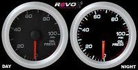 Revo Oil Pressure 100 Psi Gauge Meter 52mm White Led