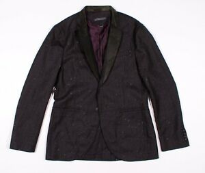 John-Varvatos-Collection-Wool-Leather-Trim-Notch-Blazer-Jacket-Size-48-US-38