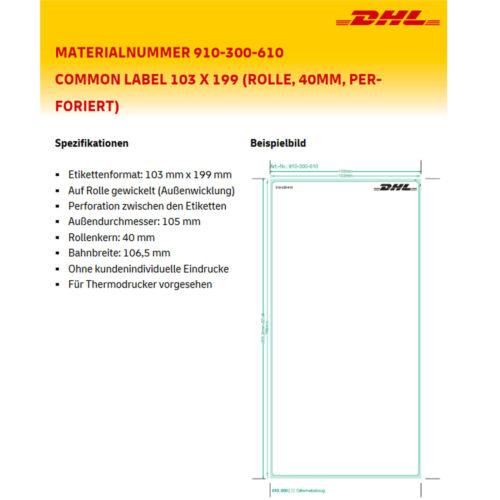 VERSAND LABEL ETIKETTEN 103x199mm DHL UPS DPD AUFKLEBER 910-300-610 THERMO ROLLE