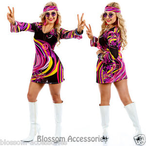 I88 60s 70s Go Go Retro Hippie Dancing Groovy Party Disco Fancy Dress Up Costume | eBay