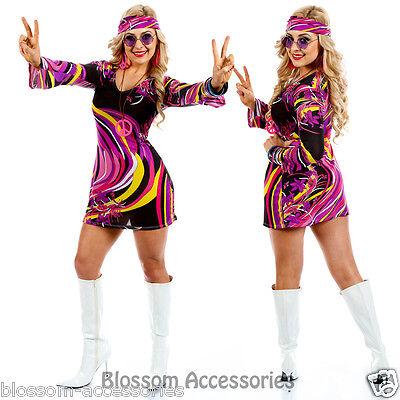 I88 60s 70s Go Go Retro Hippie Dancing Groovy Party Disco Fancy Dress Up Costume