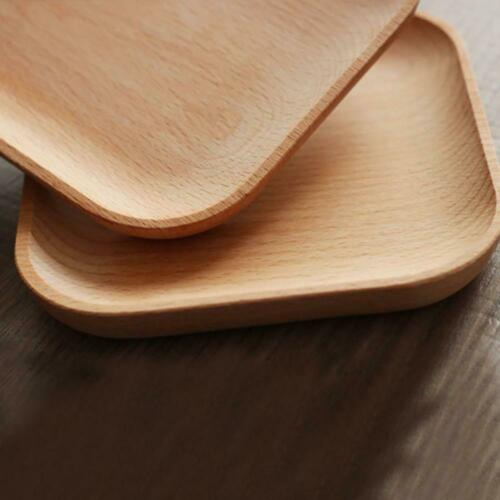 Solid Wood Serving Tray Tea Fruit Food Snack Dishes Platter Round Plate Wooden ^