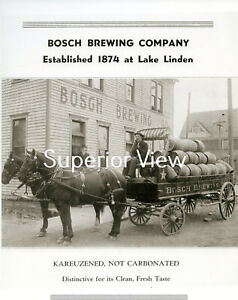 Vintage-Brewery-Horse-Drawn-Wagon-Beer-Barrels-Bosch-Brewing-Co-Calumet-MI-LOOK