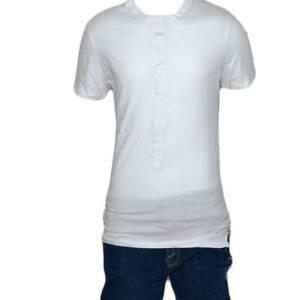 T-Shirt Maglia Maniche Corte Uomo Bianca Scollo con Bottoni Tinta Unita Cotone L