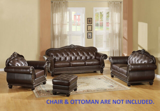 Acme ANONDALE Top Grain Leather Tan Brown Sofa Loveseat Living Room Set  15030