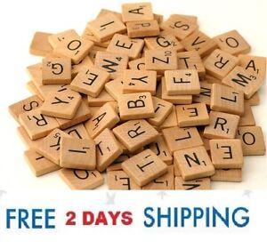 1 Complete Set Burnt Orange Color Game Crafts 100 Wood Scrabble Tiles