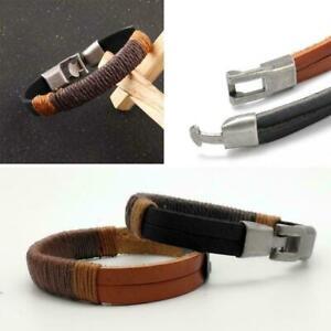 Mode-Surfer-Herren-Vintage-Hanf-Wrap-Leder-Armband-Manschette-Armband-Neu-A9W6