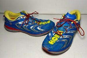 Hoka-One-One-Speedgoat-Blue-Red-Yellow-Trail-Hiking-Running-Shoes-Men-s-13-EUC