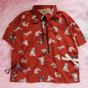 Vintage-Red-Bowknot-Fabric-shirt-Cute-Dog-Harajuku-Chiffon-Blouse-Lolita-Tops