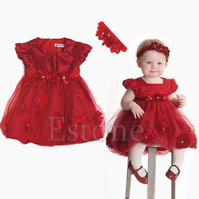 New Toddler Girls  Party Outfit Baby Xmas Wedding Pageant Flower Dress Headband