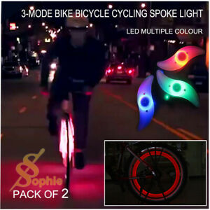 2 x 3-Mode Bike Bicycle Cycling Spoke Light Tire Tyre Wheel LED Multiple Colour