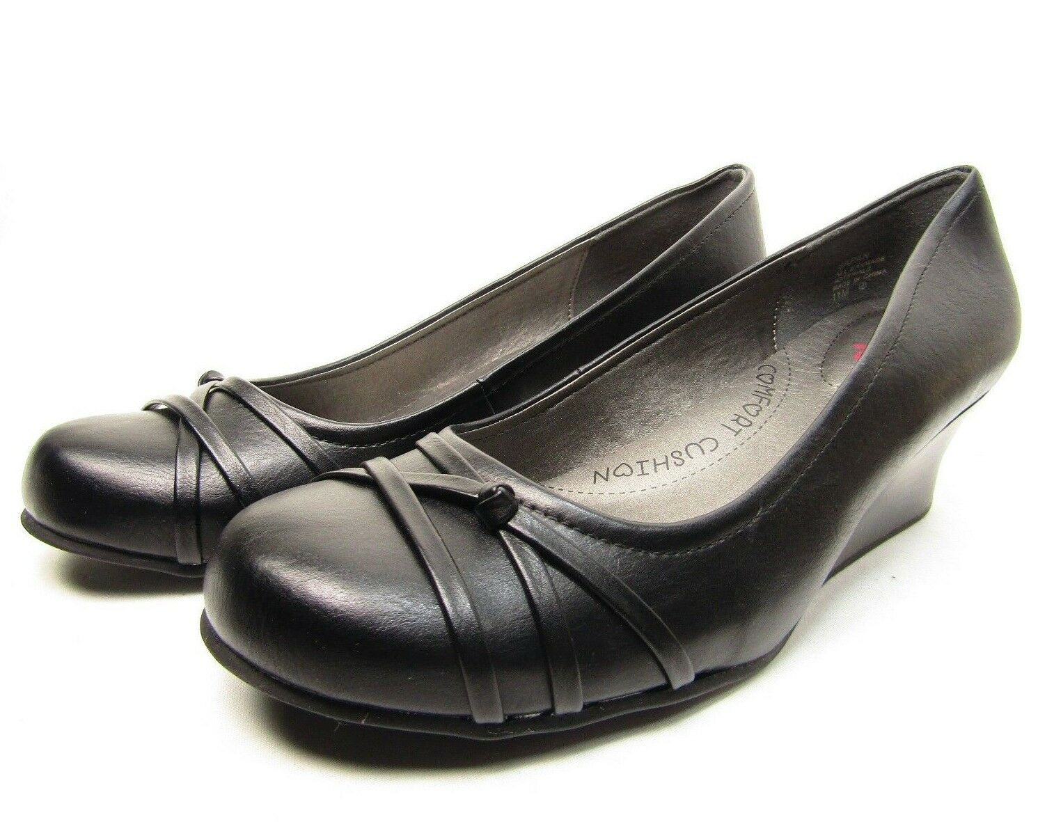 Pop Japan Slip-On Dress Wedges Black Size 11M