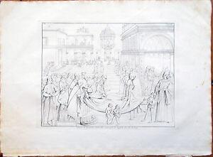 Stampa-incisione-1850s-Affresco-di-Bernardino-Pinturicchio-di-Raffaello-CXCVII