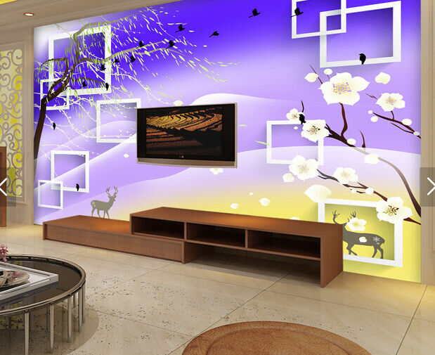 3D 3D 3D Branchs Birds Flowers Paper Wall Print Wall Decal Wall Deco Indoor Murals 674434
