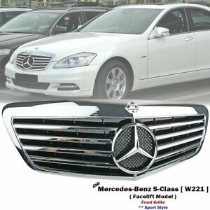 Front Chrome Sport Grille For Mercedes Benz W221 S-Class S280 S350 S500 2009-13