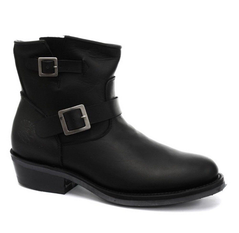 Echtleder Stiefel Vintage Herren klassisch schwarz Designer Look