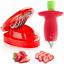 thumbnail 1 - Strawberry Huller Fruit Slicer Set, Berry Stem Leaves Huller Gem Remover Removal