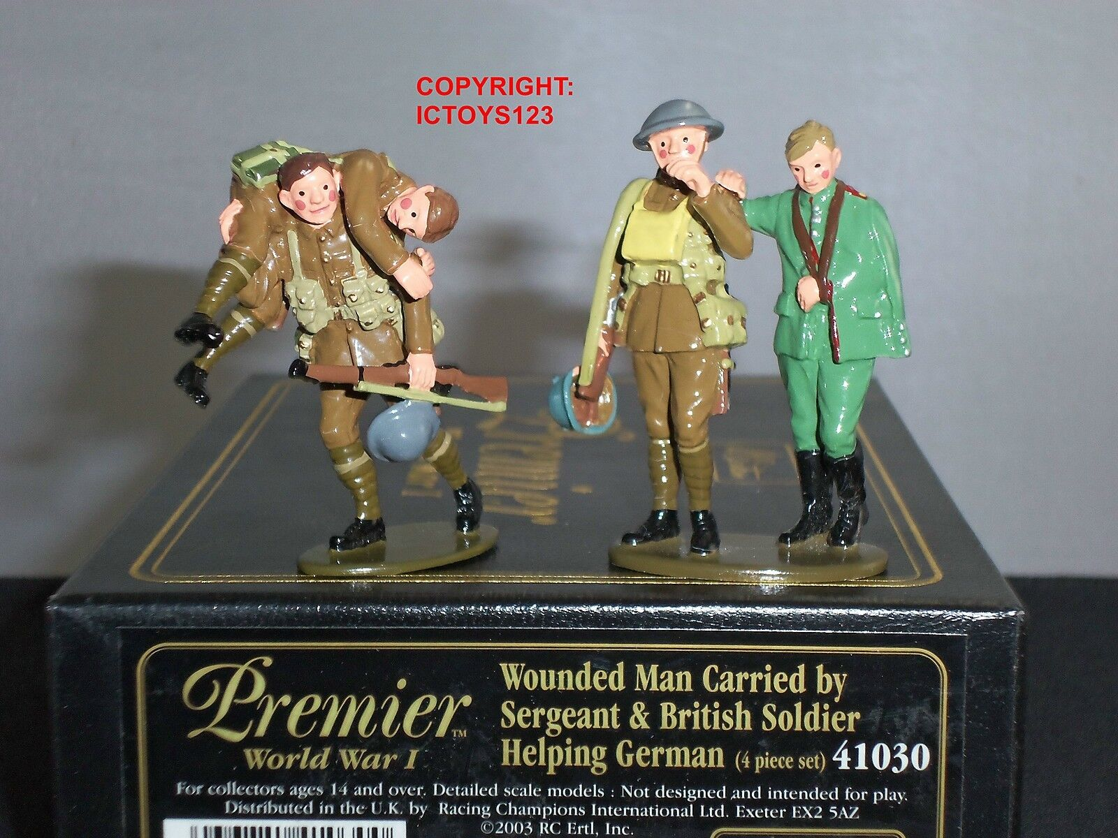 BRITAINS 41030 WW1 WOUNDED MAN CARRIED + BRITISH HELPING GERMAN TOY SOLDIER SET