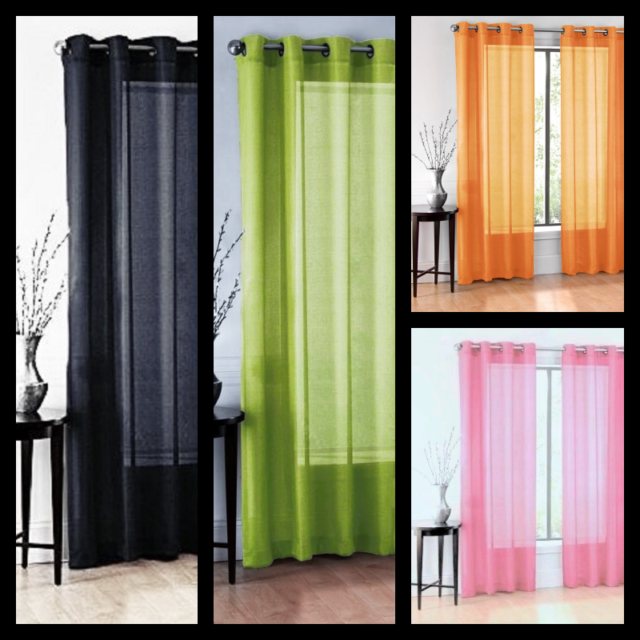 Solid Sheer Grommets Window Curtain