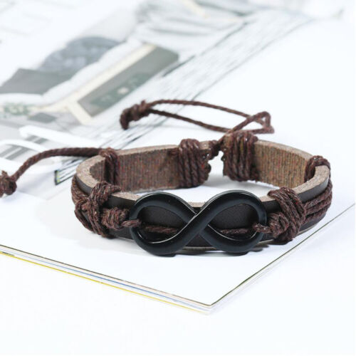 6pcs Men/'s Fashion Punk Wide Leather Wrap Braided Wristband Cuff Bracelet Bangle